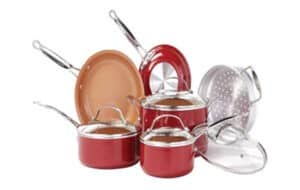 BulbHead Red Copper Copper-Infused Non-Stick Cookware Set