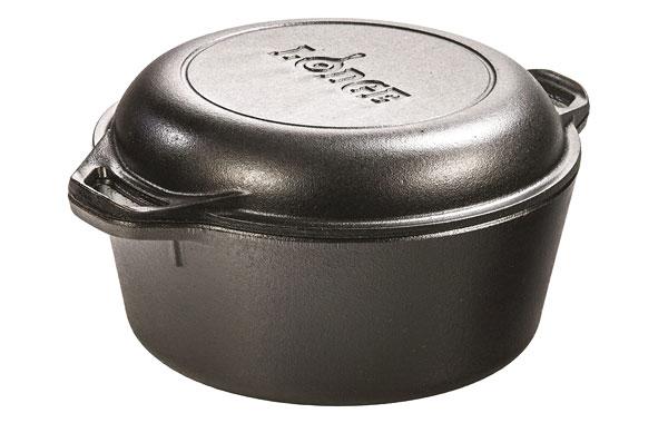 10.Lodge-Pre-Seasoned Cast Iron Double Dutch Oven