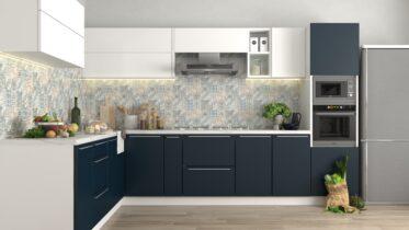 blue and white modular kitchen design